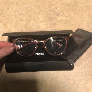 PRADA red gold Cinema glasses CASE, lens wipe